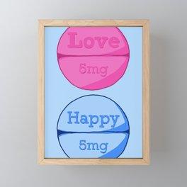 Love Happy Pill Blue Framed Mini Art Print