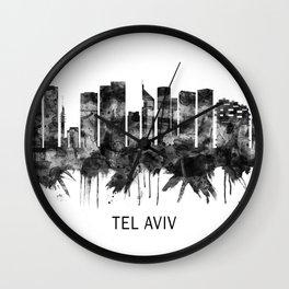 Tel Aviv Israel Skyline BW Wall Clock