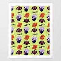 kakashi Art Prints featuring Kakashi Pattern by Palloma