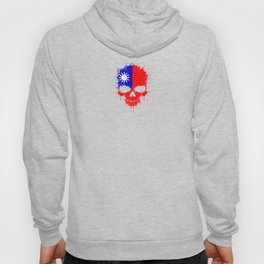 Flag of Taiwan on a Chaotic Splatter Skull Hoody