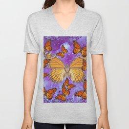 Orange Mariposas (Monarch Butterflies) on Lilac Color clouds Unisex V-Neck