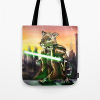 jedi Tote Bags featuring Gerbil Jedi by Wesley S Abney