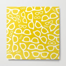 Smart Glasses Pattern - Yellow Metal Print