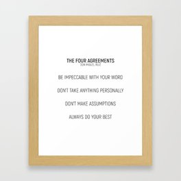 The Four Agreements #minimalism #shortversion Framed Art Print