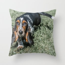 Basset Hound Puppy Droopy Ears Walking in Green Grass Cute Adorable Dog Photography Throw Pillow