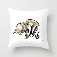 badger Throw Pillows featuring Badger by Jen Moules