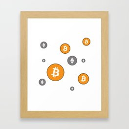 Ethereum and Bitcoin Pattern Framed Art Print