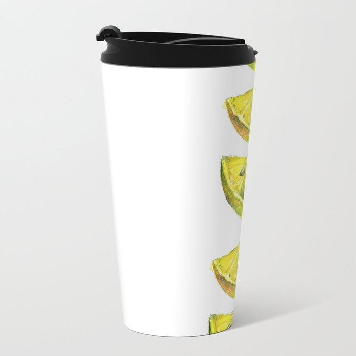 Lemon Slices White Metal Travel Mug