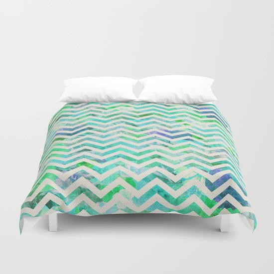 GREEN FLORAL CHEVRON Duvet Cover