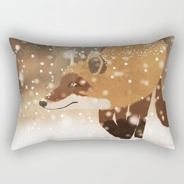Sneaky smart fox in snowy forest winter snowflakes drawing Rectangular Pillow