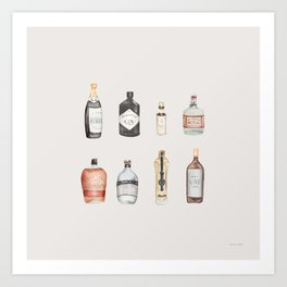 Gin Bottle PosterRoom DecorWall Art PrintGift IdeaA4 /& A3Black