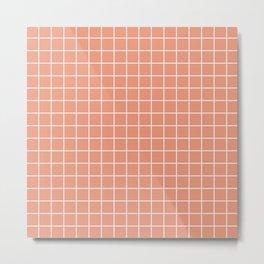 Dark salmon - pink color - White Lines Grid Pattern Metal Print