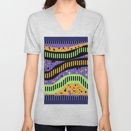 ABSTRACT PIANO KEYS IN LIVING COLOR Unisex V-Neck