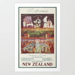 Poster, Rotorua, circa 1932, New Zealand, by New Zealand Railways Publicity Branch Art Print
