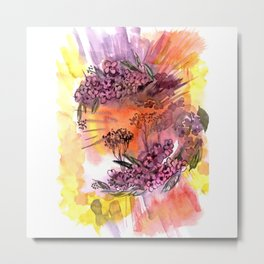 Background with hand drawn watercolor blossoming Oriental cherry tree Metal Print
