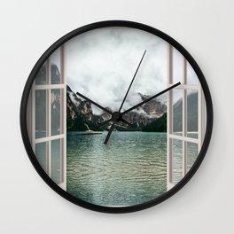 Cloudy River Landscape   OPEN WINDOW ART Wall Clock