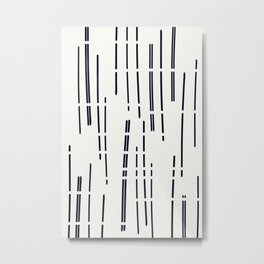 Abstract broken lines - black on off white Metal Print