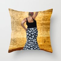 spanish Throw Pillows featuring Spanish Dancer by Anthony M. Davis