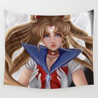 sailor moon Wall Tapestries featuring Sailor Moon by Niniel