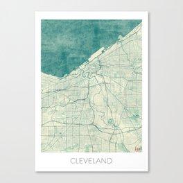 Cleveland Map Blue Vintage Canvas Print