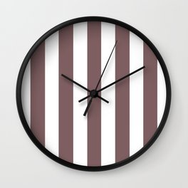 Deep taupe grey - solid color - white vertical lines pattern Wall Clock
