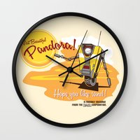 borderlands Wall Clocks featuring Visit Pandora! by Andy Hunt