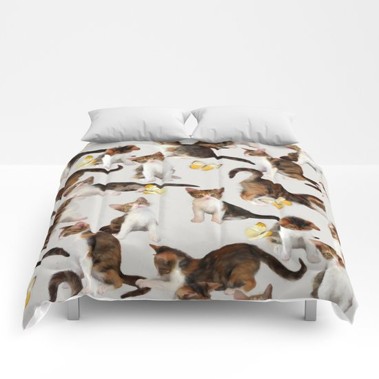 Kittens and Butterflies - a painted pattern Comforters