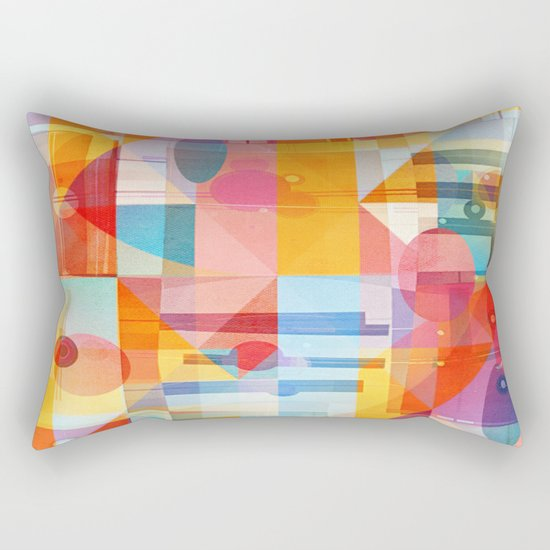 Whimsical Sunny Geometry Rectangular Pillow