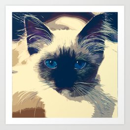 holy birma cat blue eyes vector art foggy night Art Print
