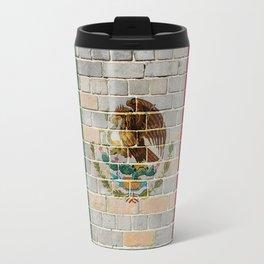 Mexico flag on a brick wall Travel Mug