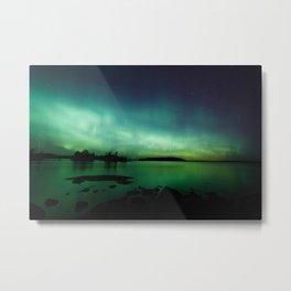 Northern lights lake landscape in Finland Metal Print