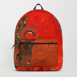 Turquoise and Red Swirls Backpack