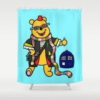 winnie the pooh Shower Curtains featuring Doctor Who - Doctor Pooh by Scurpix Art