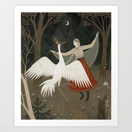 crane dance Art Print