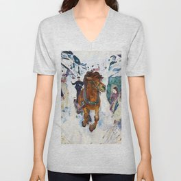 Galloping Horse by Edvard Munch Unisex V-Neck