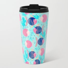 Colorful neon pink navy blue turquoise watercolor nautical fish pattern Travel Mug