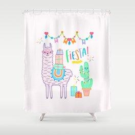 llama pink alpaca fiesta boho gift Shower Curtain