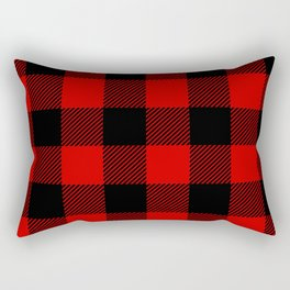 Red Lumberjack Pattern Rectangular Pillow