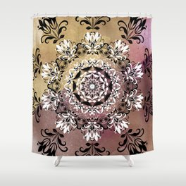 ELEGANT BLACK AND WHITE WATERCOLOR MANDALA Shower Curtain