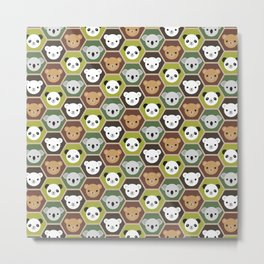 Kawaii Autumn Bears Metal Print