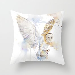 "Watercolor Painting of Picture ""White Owl"" Throw Pillow"