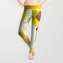 Sunflowers And Bees Leggings