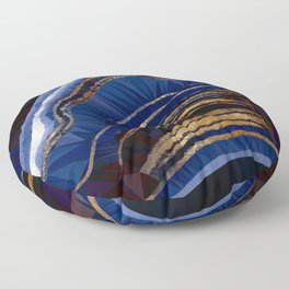 Blue Gold Marble Low Poly Geometric Triangle Art Floor Pillow
