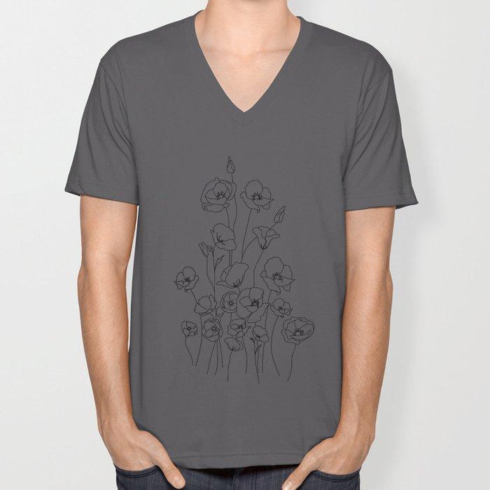 Poppy Flowers Line Art Unisex V-Ausschnitt