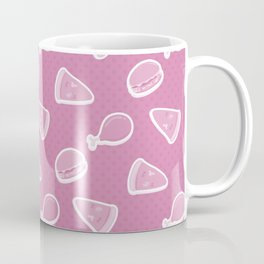 Pizza Burgers and Fried Chicken Picnic Time on Pink Coffee Mug
