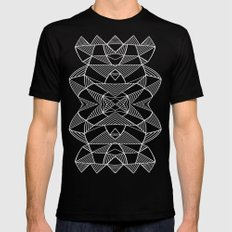 Abstraction Lines Mirrored White on Black MEDIUM Black Mens Fitted Tee