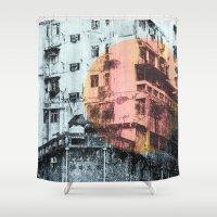hong kong Shower Curtains featuring Hong Kong Facade by jennymadeleine