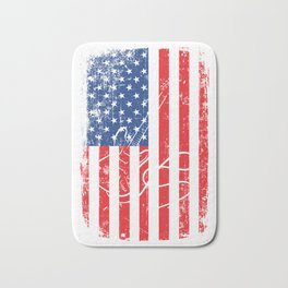 American Flag With A Minimal Illustration Of A Guitar T-shirt Design White Musician Band Muscians Bath Mat