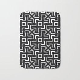Black and White Ethnic Geometric Pattern Bath Mat
