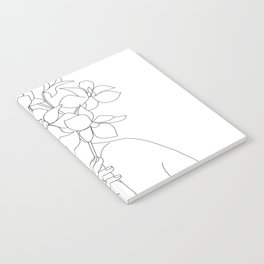 Minimal Line Art Woman with Orchids Notebook
